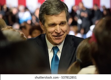 CHARLOTTE, NC, USA - JULY 5, 2016: Roy Cooper Democratic candidate for North Carolina Governor speaks to the crowd at the conclusion of a rally for Democratic Presidential Nominee Hillary Clinton.