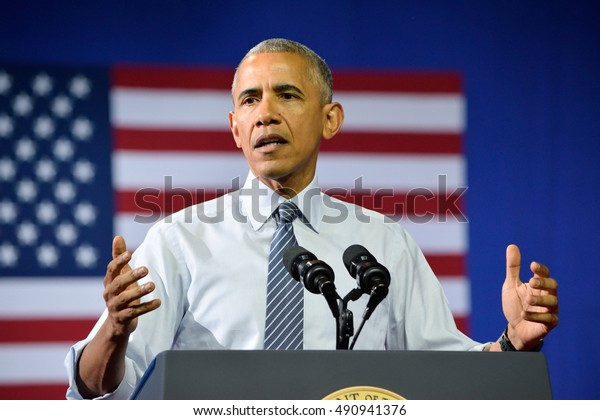 CHARLOTTE, NC, USA - JULY 5, 2016: Barack Obama President of the United States with a gesture of concern while delivering a speech at the Charlotte Convention Center for Hillary Clinton.