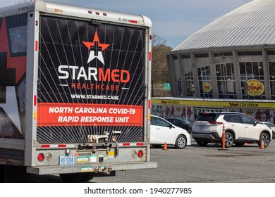 Charlotte, NC USA - March 20,  2021: Starmed healthcare Covid-19 truck outside Bojangles Coliseum. Starmed vaccinates hundreds of people everyday.