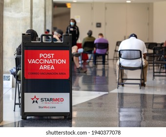 Charlotte, NC USA - March 20,  2021: The waiting area at Bojangles Coliseum for those who received a covid shot. They are asked to wait 15 minutes before leaving.