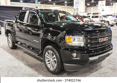 CHARLOTTE, NC, USA - November 11, 2015: GMC Canyon on display during the 2015 Charlotte International Auto Show at the Charlotte Convention Center in downtown Charlotte.