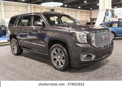 CHARLOTTE, NC, USA - November 11, 2015: GMC Yukon Denali on display during the 2015 Charlotte International Auto Show at the Charlotte Convention Center in downtown Charlotte.