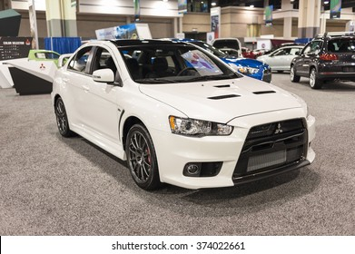 CHARLOTTE, NC, USA - November 11, 2015: Mitsubishi Lancer Evolution Final Edition on display during the 2015 Charlotte International Auto Show at the Charlotte Convention Center in downtown Charlotte.