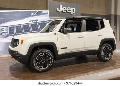 CHARLOTTE, NC, USA - November 11, 2015: Jeep Renegade on display during the 2015 Charlotte International Auto Show at the Charlotte Convention Center in downtown Charlotte.