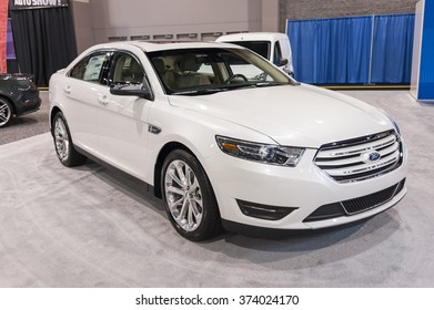 CHARLOTTE, NC, USA - November 11, 2015: Ford Taurus on display during the 2015 Charlotte International Auto Show at the Charlotte Convention Center in downtown Charlotte.