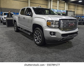 CHARLOTTE, NC, USA - NOVEMBER 17, 2016: GMC Canyon Denali on display during the 2016 Charlotte International Auto Show at the Charlotte Convention Center in downtown Charlotte.