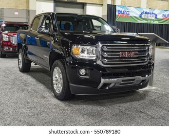 CHARLOTTE, NC, USA - NOVEMBER 17, 2016: GMC Canyon  on display during the 2016 Charlotte International Auto Show at the Charlotte Convention Center in downtown Charlotte.