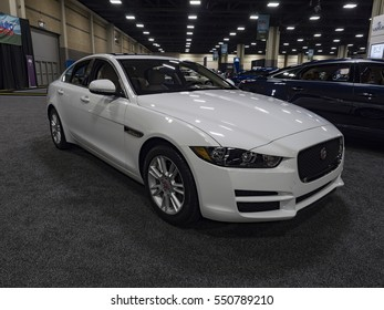 CHARLOTTE, NC, USA - NOVEMBER 17, 2016: Jaguar XE 25t on display during the 2016 Charlotte International Auto Show at the Charlotte Convention Center in downtown Charlotte.