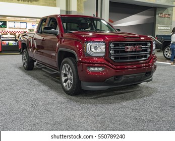 CHARLOTTE, NC, USA - NOVEMBER 17, 2016: GMC Sierra 1500 on display during the 2016 Charlotte International Auto Show at the Charlotte Convention Center in downtown Charlotte.