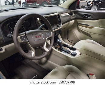 CHARLOTTE, NC, USA - NOVEMBER 17, 2016: GMC Acadia on display during the 2016 Charlotte International Auto Show at the Charlotte Convention Center in downtown Charlotte.