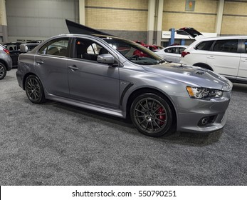 CHARLOTTE, NC, USA - NOVEMBER 17, 2016: Mitsubishi Lancer Evolution on display during the 2016 Charlotte International Auto Show at the Charlotte Convention Center in downtown Charlotte.