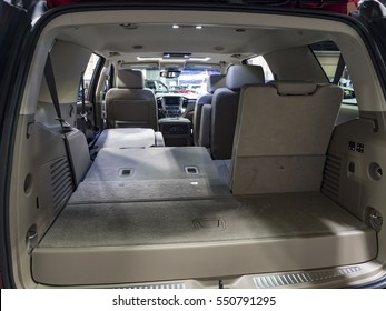 CHARLOTTE, NC, USA - NOVEMBER 17, 2016: Chevrolet Tahoe on display during the 2016 Charlotte International Auto Show at the Charlotte Convention Center in downtown Charlotte.