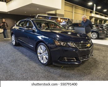 CHARLOTTE, NC, USA - NOVEMBER 17, 2016: Chevrolet Impala on display during the 2016 Charlotte International Auto Show at the Charlotte Convention Center in downtown Charlotte.