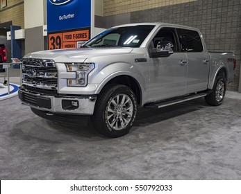 CHARLOTTE, NC, USA - NOVEMBER 17, 2016: Ford F-150 on display during the 2016 Charlotte International Auto Show at the Charlotte Convention Center in downtown Charlotte.
