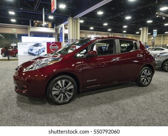 CHARLOTTE, NC, USA - NOVEMBER 17, 2016: Nissan Leaf on display during the 2016 Charlotte International Auto Show at the Charlotte Convention Center in downtown Charlotte.