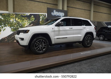 CHARLOTTE, NC, USA - NOVEMBER 17, 2016:  Jeep Grand Cherokee on display during the 2016 Charlotte International Auto Show at the Charlotte Convention Center in downtown Charlotte.