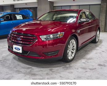 CHARLOTTE, NC, USA - NOVEMBER 17, 2016: Ford Taurus on display during the 2016 Charlotte International Auto Show at the Charlotte Convention Center in downtown Charlotte.
