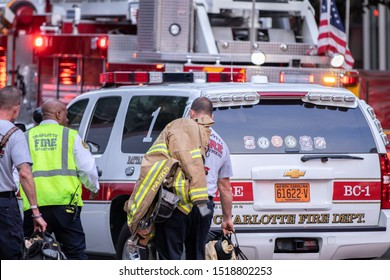 Charlotte, NC / USA - September 30 2019: The Charlotte Fire Department responds to a fire at a downtown restaurant located on N College St in Charlotte NC.