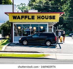 CHARLOTTE, NC, USA-28 JULY 2019: This Waffle House on South Blvd. is one of more than 2100 locations.