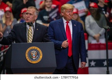 Charlotte, North Carolina - 2 March 2020: President Trump giving Senator Thom Tillis the thumbs up at the rally in the Bojangle's Coliseum