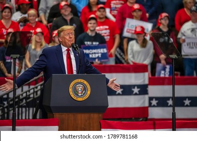 Charlotte, North Carolina - 2 March 2020: President Trump concludes his campaign speech at the rally in the Bojangle's Coliseum