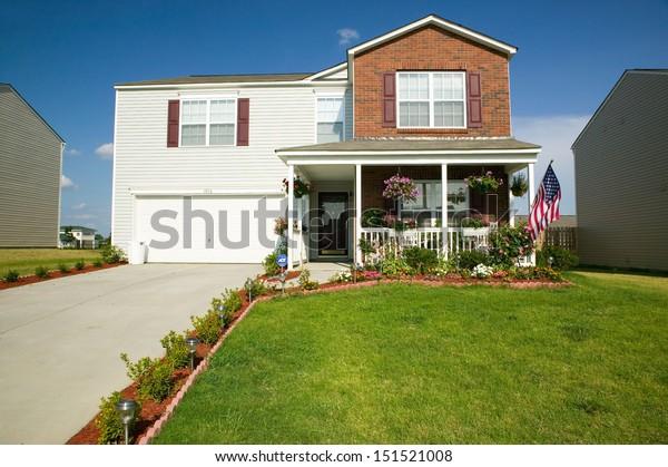CHARLOTTE, NORTH CAROLINA - CIRCA 2005: Single house in new housing development near Charlotte, North Carolina