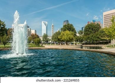 Charlotte, North Carolina city skyline as seen from Marshall Park