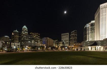 Charlotte, North Carolina city skyline at night as seen from Romare Bearden Park
