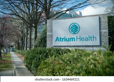 Charlotte, North Carolina - February 1, 2020: Atrium Health Carolinas Medical Center sign and logo