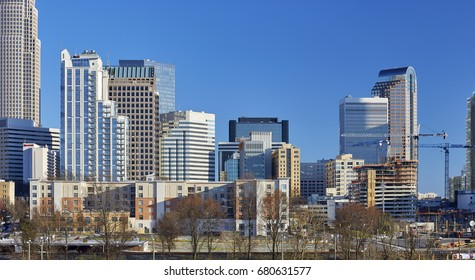 CHARLOTTE, NORTH CAROLINA - FEBRUARY 27, 2016 - View of modern buildings in uptown Charlotte, North Carolina