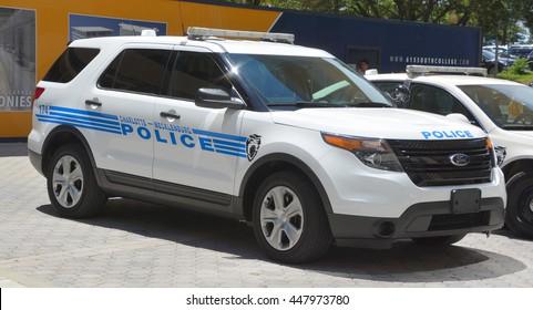 CHARLOTTE NORTH CAROLINA JUNE 20 2016: Car of Charlotte-Mecklenburg Police Department of the City of Charlotte it is the largest police department between Washington D.C. and Atlanta, Georgia.