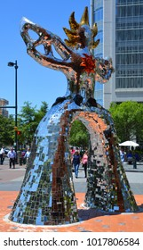 """CHARLOTTE NORTH CAROLINA JUNE 22 2916: The Bechtler Museum of Modern Art with """"The Firebird"""" by Niki de Saint Phalle. The Museum is part of the Levine Center and was designed by Mario Botta."""