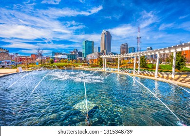Charlotte North Carolina NC Skyline from First Ward Park Fountain