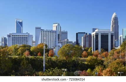 CHARLOTTE, NORTH CAROLINA - NOVEMBER 12, 2016 - View of the Charlotte skyline and fall foliage during a November afternoon