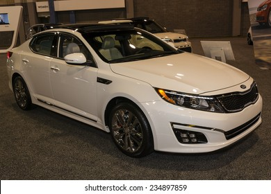 CHARLOTTE, NORTH CAROLINA - NOVEMBER 20, 2014: Kia Optima on display during the 2014 Charlotte International Auto Show at the Charlotte Convention Center.