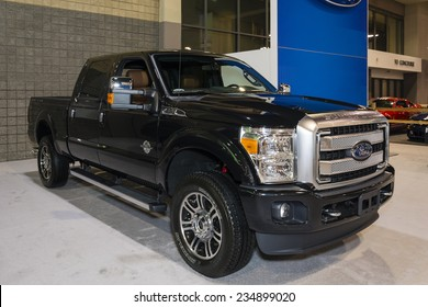 CHARLOTTE, NORTH CAROLINA - NOVEMBER 20, 2014: Ford Super Duty pickup truck on display during the 2014 Charlotte International Auto Show at the Charlotte Convention Center.