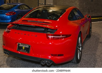 CHARLOTTE, NORTH CAROLINA - NOVEMBER 20, 2014: Porsche 911 on display during the 2014 Charlotte International Auto Show at the Charlotte Convention Center.
