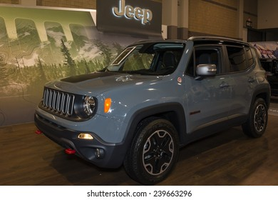 CHARLOTTE, NORTH CAROLINA - NOVEMBER 20, 2014: Jeep Renegade on display during the 2014 Charlotte International Auto Show at the Charlotte Convention Center.