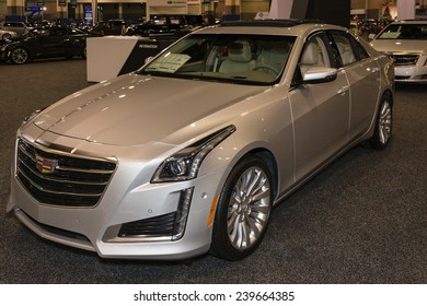 CHARLOTTE, NORTH CAROLINA - NOVEMBER 20, 2014: Cadillac CTS sedan on display during the 2014 Charlotte International Auto Show at the Charlotte Convention Center.