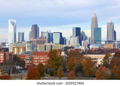 CHARLOTTE, NORTH CAROLINA - NOVEMBER 25, 2017 - View of the Charlotte skyline in November 2017