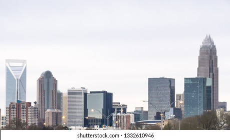 Charlotte North Carolina Skyline Buildings in City