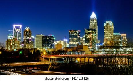 The Charlotte, North Carolina Skyline at Dusk