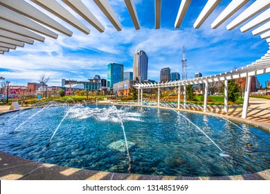 Charlotte North Carolina Skyline from First Ward Park Fountain