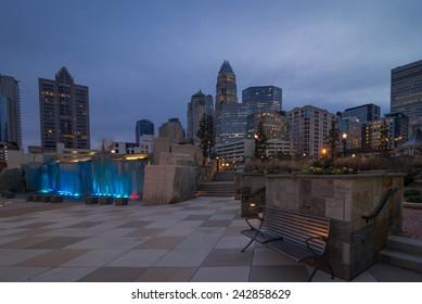 Charlotte, North Carolina skyline taken from the Romare Bearden Park in uptown.