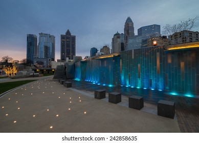 Charlotte, North Carolina skyline taken from the Romare Bearden Park in uptown.