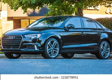 Charlotte, North Carolina / United States - October 10, 2018: Black Audi Sedan