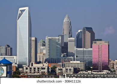 Charlotte, North Carolina, USA - August 23, 2010: Charlotte skyline in the daytime from Southend showing most of the towers uptown