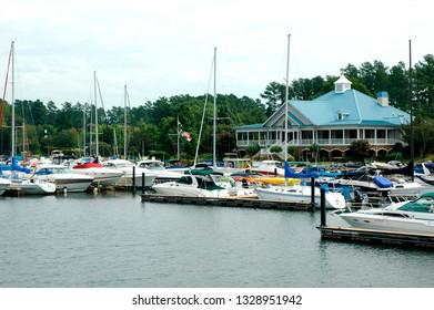 Charlotte, North Carolina, USA, Boat dock on Lake Norman, September 17, 2008