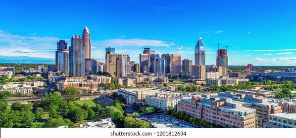 Charlotte, North Carolina, USA Skyline Drone Aerial