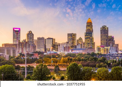 Charlotte, North Carolina, USA uptown skyline at dusk.